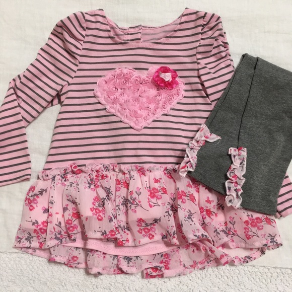 03c3ad5d Nanette Kids - Pink & Grey Heart Outfit